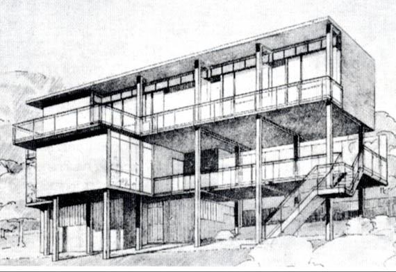iconic perspective of the Palička House by Mart Stam, the Opbouw Magazine, the Netherlands, 1932
